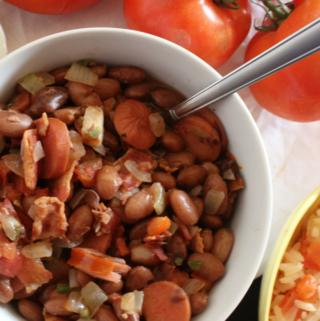 charro beans in a white bowl