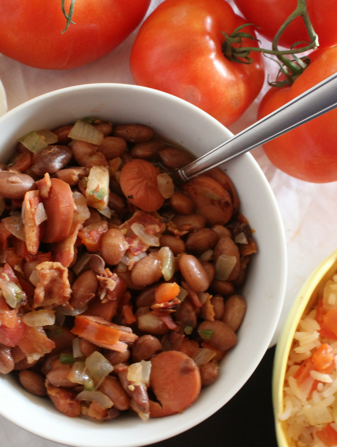 charro beans in a white bowl