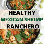 "Cats iron skillet with words in middle that say ""Healthy Mexican Shrimp Ranchero"""