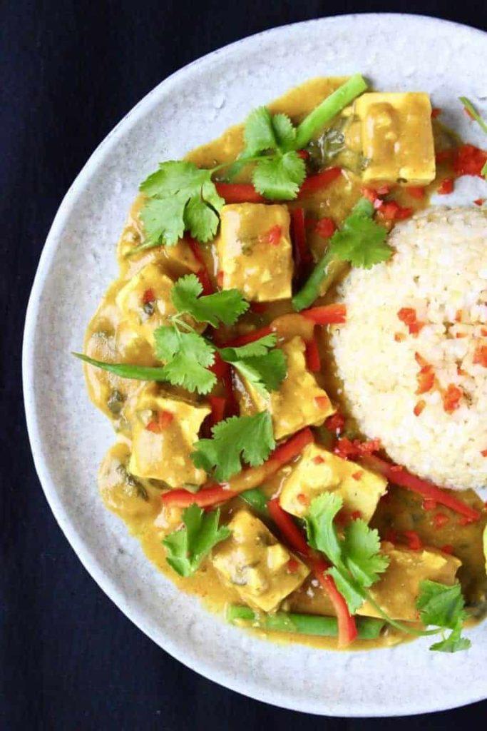 vegan lunch satay curry