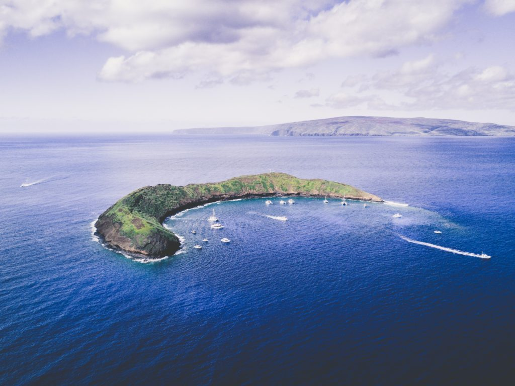 crescent shaped Molokini in Maui