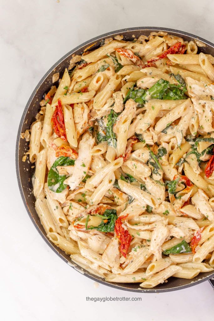 Meal prep ideas: one pot creamy tuscan chicken.