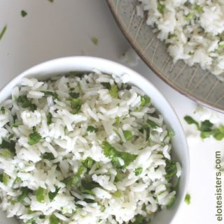 bowl and plate of cilantro lime rice