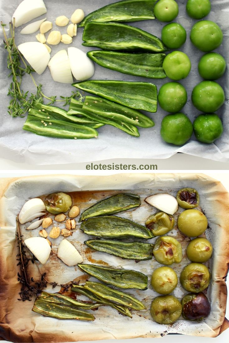 two baking sheets with tomatillos onion garlic and green peppers for homemade green enchilada sauce