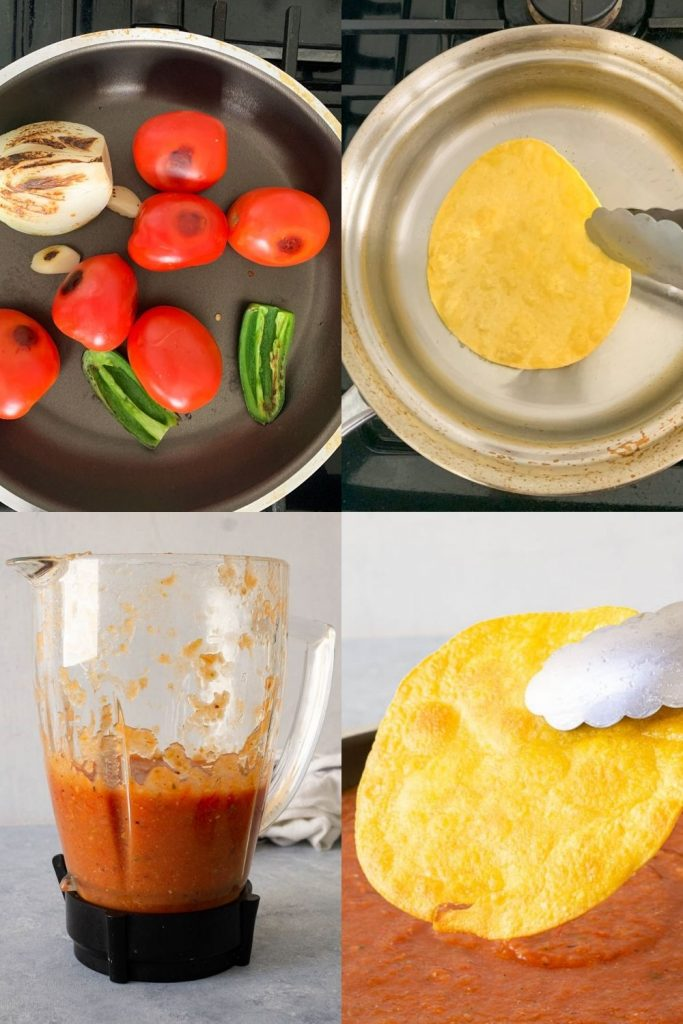 collage of vegetables charring, tortilla being fried, sauce in blender, and tortilla about to be dipped in entomatada sauce